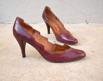 FLASH SALE 70s 80s designer heels / Charles Jordan Paris stilettos / burgundy leather spiked heels approx size 7
