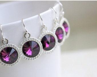 Clearance SALE Amethyst Purple Earrings Swarovski Crystal Rivoli Sterling CZ Halo