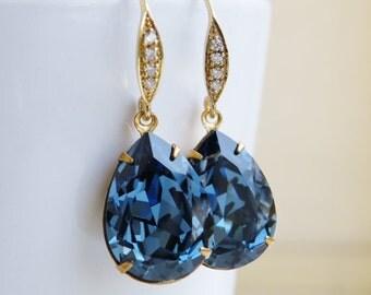 Clearance SALE Swarovski Earrings Denim Blue Foiled Pear Stone Gold Filled