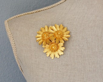 1960s Large Flower Brooch Signed BSK Vintage Chunky Gold Tone Daisy