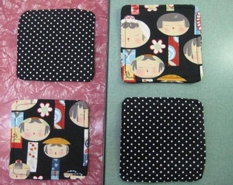 Drink Coasters - Set of 4 - Black Kokeshi Japanese Dolls
