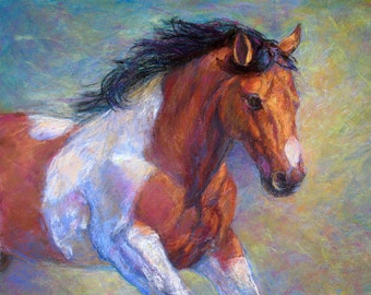 Paint Horse Art Print-'Pinto To Go'