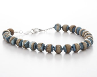 blue brown necklace, lampwork glass and silver, artisan jewelry