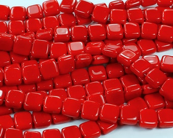 50 Opaque Red CzechMates 2-Hole Tile Glass Beads 6mm