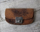 Antique 1920s brown leather coin purse