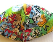 DC comics kippah Superheroes yarmulke ---all your favorite superhereos on one kippah --Wonder woman, Superman, Batman, The Flash, Robin etc.