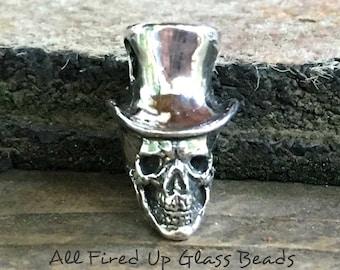 Mr. Bones Sterling Silver Skeleton Head Zombie Bead Handmade Pendant Charm