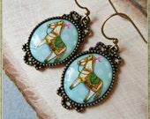 White horse earrings, pony horse mint blue, dangle earrings, horse jewelry antique brass bronze vintage style pet animal gift for girl women