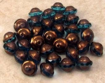 Czech Glass Saturn Beads, Capri Blue, Brass, 8x10 MM, 12 Pc. C499
