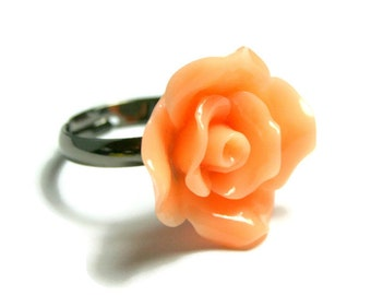 Rose Flower Ring, Peach Floral Apricot Ring, Romantic Adjustable Gunmetal Base