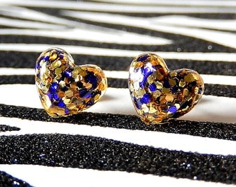 Purple Gold Heart Earrings, Resin Studs, Glitter Kawaii Earrings