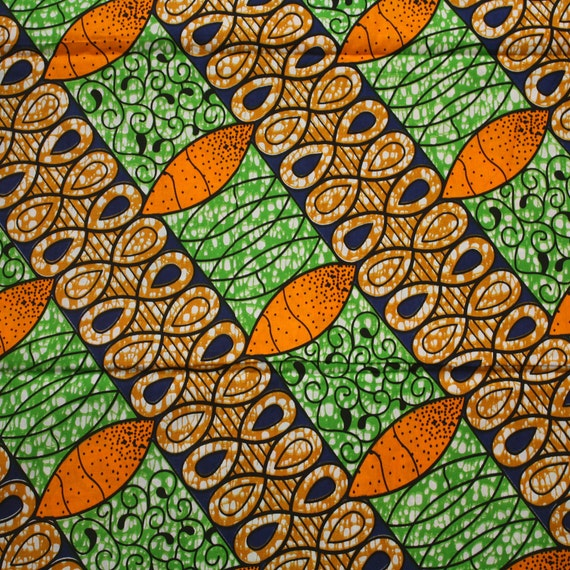 ankara fabric african print fabric green orange and blue african wax print ankara print by. Black Bedroom Furniture Sets. Home Design Ideas
