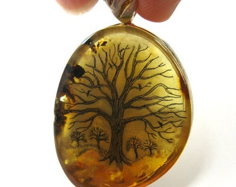 Original Scrimshaw tree birds on Baltic Amber pendant