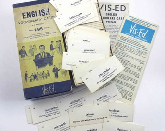 Vintage English Vocabulary Cards in Original Box Contains Almost 1000 Cards