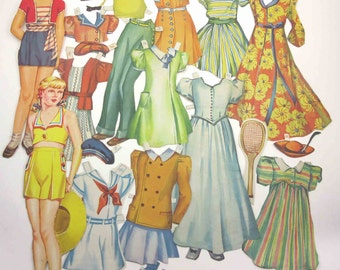 Vintage 1940s or 1950s Paper Dolls Teenage Girls and 21 Outfits