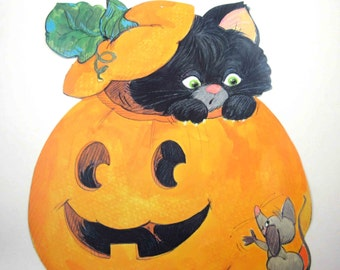 Vintage Halloween Die Cut Decoration with Black Cat Jack O Lantern and Mouse
