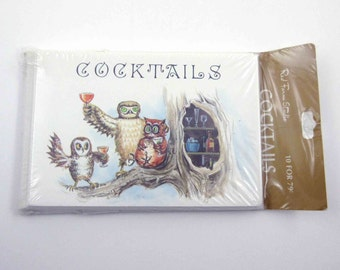 Vintage Set of 10 Unused Cocktails Invitation Cards in Original Package with Owls and Drinks by Red Farm Studio
