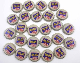 Vintage Blue Yellow Ivory and Red Dad's Old Fashioned Cream Soda Bottle Caps Set of 25