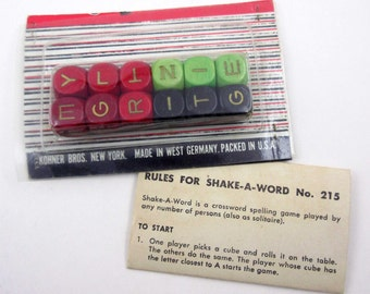 Vintage Wooden Colored Letter Cubes or Game Pieces with Instructions for Shake A Word Set of 12