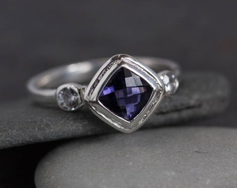 Iolite Ring, Diamond shape Halo Ring,  Three Stone Ring with Iolite, White Sapphire and Recycled Sterling Silver