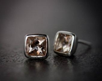 Morganite and Sterling Silver Stud Earrings, Sterling Silver Gemstone Earrings, Cushion Cut Post Earrings, 5mm Morganite Studs
