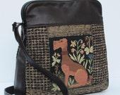 RESERVED FOR JeanSussams1  Fabric and Leather Shoulder BAG  Dog Ferret