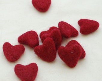 3cm 100% Wool Felt Hearts - 10 Count - Rosewood Red