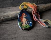 Beautiful Mermaid on the rock  - fused glass pendant - mermaid nekclace - boho gypsy jewelry