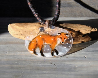 Amazing Fox in the winter -  Fused glass pendant