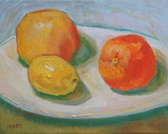 Still Life Oil Painting:  Citrus Trio 8 x 10 Canvas