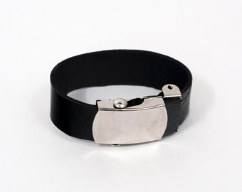 patent leather cuff with military buckle by indie collective - reversible, adjustable, unisex