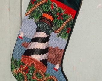 On Sale Vintage 1991 Needlepoint Christmas Stocking, Nautical, Lighthouse, Seagulls Beach Christmas Stocking, Ocean Waves, Sailboat Stocking