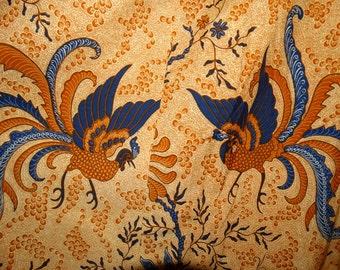 1970's Indonesian Batik Cotton  Skirt Bohemian Hobo Fashion, Java Batik, Javanese, Summertime Fabric, Circa 1970s