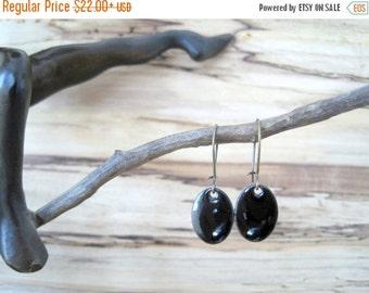 SALE Black Dangle Earrings, Oval Black Drop Earrings, Copper Enamel, Midnight Chandelier Earrings