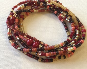 Fall Leaves Stetch Wrap Bracelet, Necklace, Stackable Layering Accessory, Jewelry Seed Beads, Red Mountain Jade, Gold, Cranberry, Brown