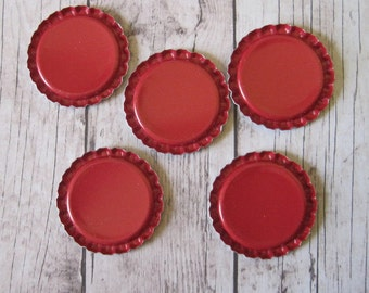 25 RED Flattened Bottle Caps- Perfect for decorative magnets, pendants, charms, zipper pulls, bracelets, hair bows, etc.