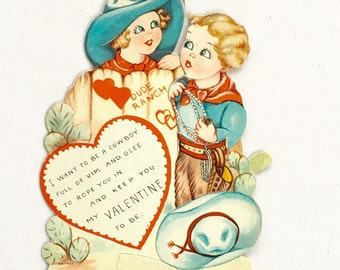 Vintage Valentine's Day Card Cowboy Mechanical 1950's Dude Ranch