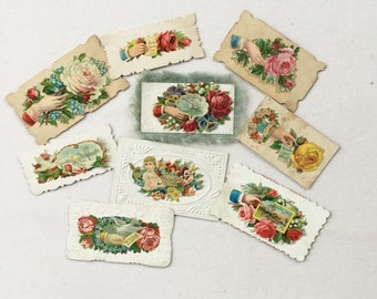 Victorian Calling Cards Embossed Flower Paper Ephemera Vintage