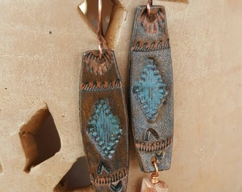 Hand Tooled Leather Earrings  - Southwestern - Faceted Moonstone - Copper - Jewelry by Heart of a Cowgirl