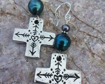 Cross Earrings - Arrows and Hearts - Fine Pewter Earrings - Freshwater Pearl Earrings -  Cowgirl Jewelry