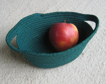Oval Green Fabric Coil Clothesline Bowl with handles
