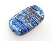 Handmade Lampwork Bead. Memphis! Organic raked stripes, fine silver on lapis ivory.