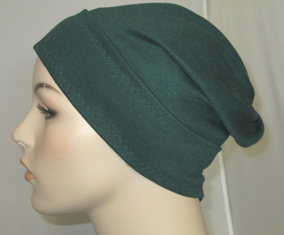 Forest Green Slouch Chemo Cap, Cancer Hat, Alopecia, Modest Hat,