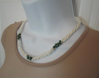 Vintage braided faux pearl choker, With green and gold bead accents, 18 inch choker length, Ladylike understated style