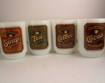 Complete Set of Vintage Fire King Anchor Hocking Aunt Jenny Mugs Milk glass MilkGlass Tea Coffee Soup CoCoa