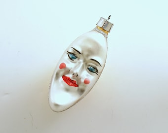 Vintage Christmas Glass Ornament Man in the Moon Anthropomorphic