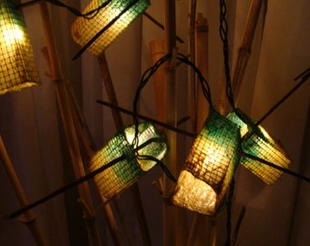 Turquois & Bottle Green Patio Lights - Set of Ten