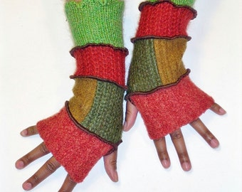 Fingerless Gloves, Upcycled Armwarmers , Patchwork Gloves (Rust/Patched Olive, Ochre/Brick Red/Lime Green)