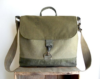Recycled military canvas messenger, 13 inch laptop book bag - eco vintage fabrics