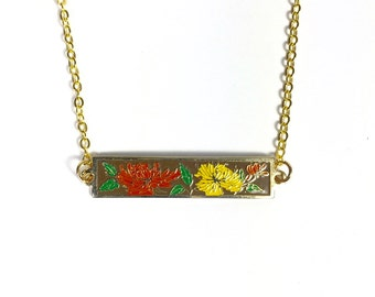 Peony Flower Necklace,Vintage Enamel Necklace, Bar Necklace, Floral Necklace, Yellow, Red and Brown